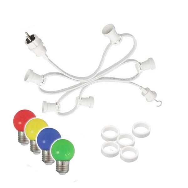 Illu-/Partylichterkette 10m | Außenlichterkette weiß | Made in Germany | 20 x bunte LED Tropfenlampe