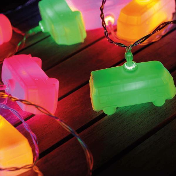 LED Lichterkette BULLI - 3m - Batterie - 20 farbige VW Busse - Die echte Fankette