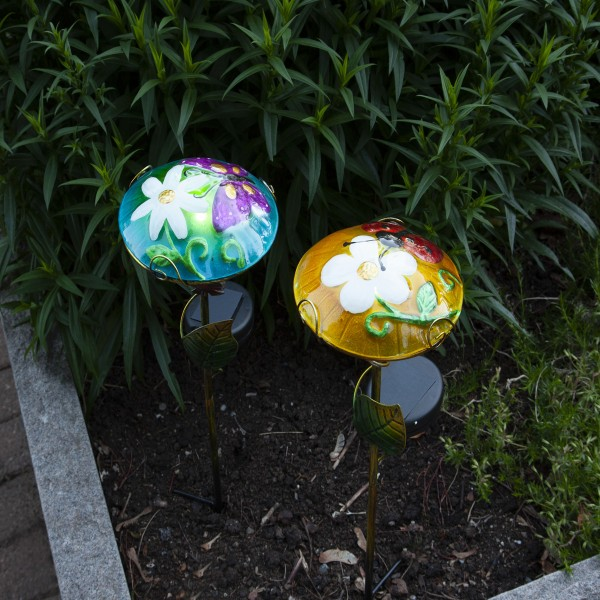 "LED Solarstab ""Glasschirm"" - mit Schmetterling - blau - kaltweiße LED - H: 44cm - Dämmerungssensor"