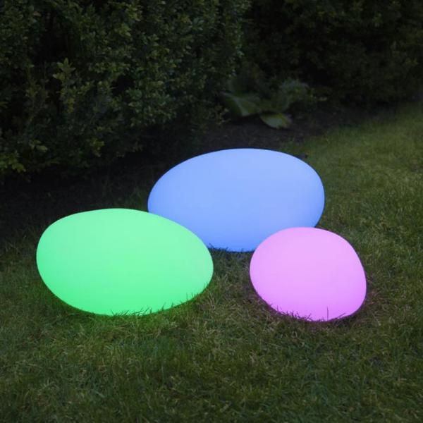 "LED-Stein ""Twilights"" - 33x18x25cm - RGB Wechsel/feste Farbe - Fernbedienung - Aufladbar - IP44"