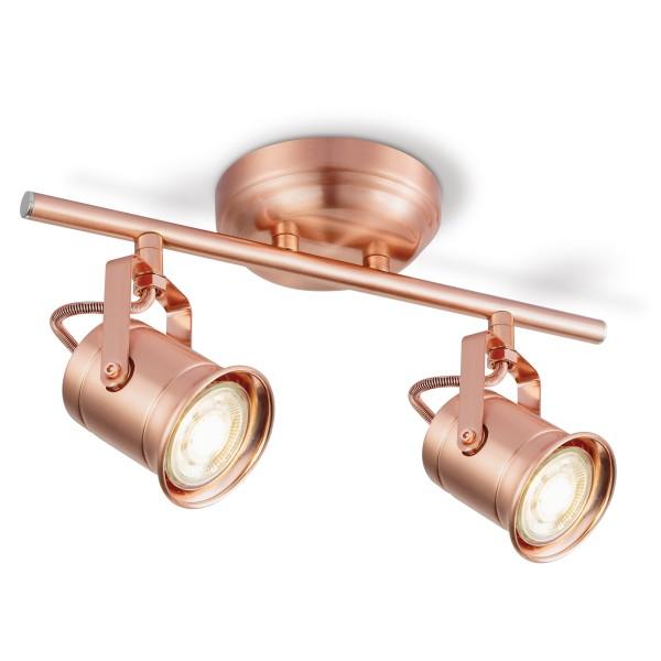 Deckenbalken VENN 2fach - kupfer - inkl. 2 GU10 Leuchtmittel 3000K 345Lumen - 36°