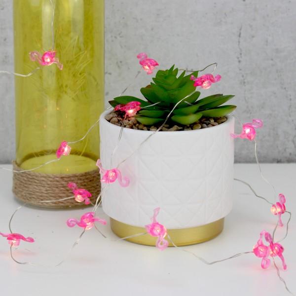 LED Drahtlichterkette Flamingo - 20 warmweiße LED - Batteriebetrieb - L: 1,9m - pink
