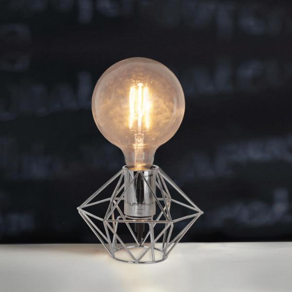 Lampenhalterung | EDGE | E27 | →18cm x ↑13cm | groß | 180cm Kabel | Fassung Silber / Chrom