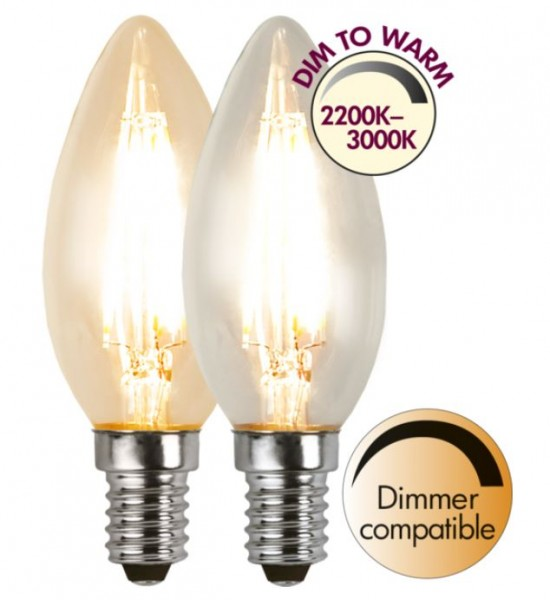 LED Kerzenlampe FILA C35 - E14 - 4W - dimm-to-warm 3-2200K - 320lm - dimmbar