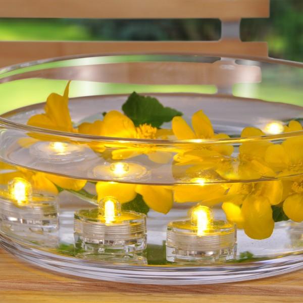 LED Teelichter in Blütenform - warmweiße flackernde LED - wasserdicht - Batteriebetrieb - 12er Set