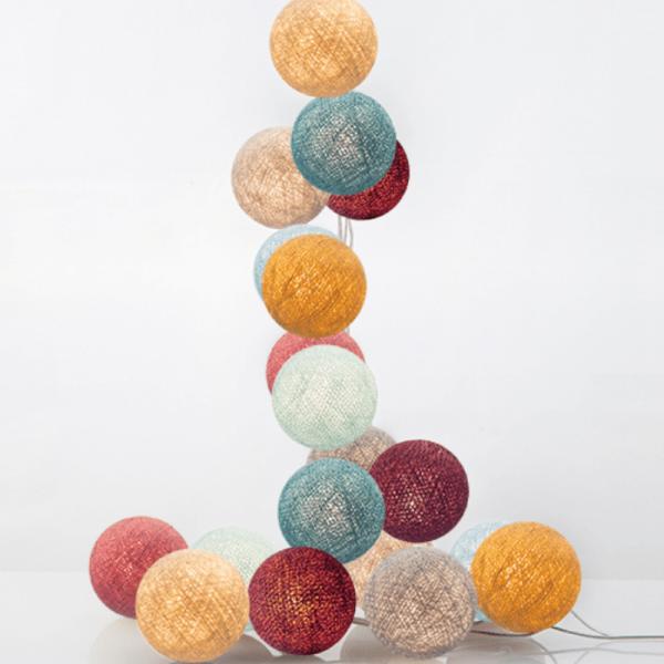 good moods* HANA 20 - Ball-Lichterkette mit 20 Stoffkugeln - 20 warmweiße LEDs - Geschenkkarton