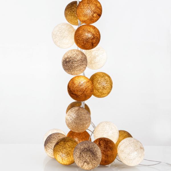 good moods*MILCH & HONIG - Ball-Lichterkette mit 20 Stoffkugeln - 20 warmweiße LEDs - Geschenkkarton