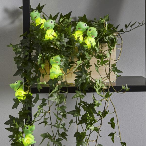 """LED Lichterkette """"Dinosaurier"""" - 10 grüne Dinos mit warmweißen LED - 90cm - Batterie - Timer"""