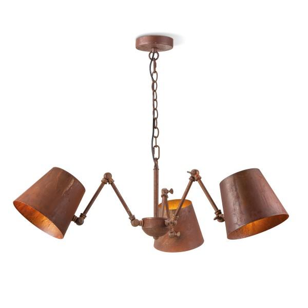 Deckenlampe Leuchter RUSTY - 3 x E27 - bis 120cm - rostbraun - Moderner Kronleuchter