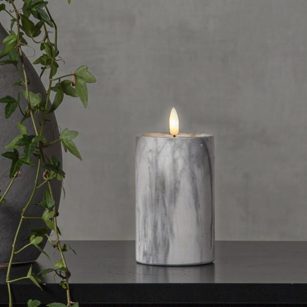 """LED Stumpenkerze """"Flamme"""" - Marmoroptik - Echtwachs - natürlich aussehende Flamme - Timer - H:15cm"""