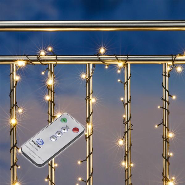 LED Lichterkette - Outdoor - 100 warmweiße LED - L: 9,9m - Timer - 8 Funktionen - Außentrafo