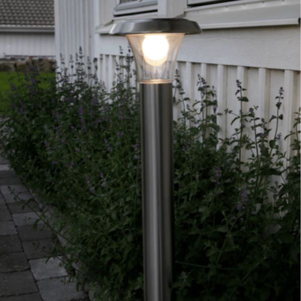 "LED Solar Wegleuchte ""Bollard"" - Edelstahl - warmweiße LED - H: 80cm - D: 21cm - Dämmerungssensor"