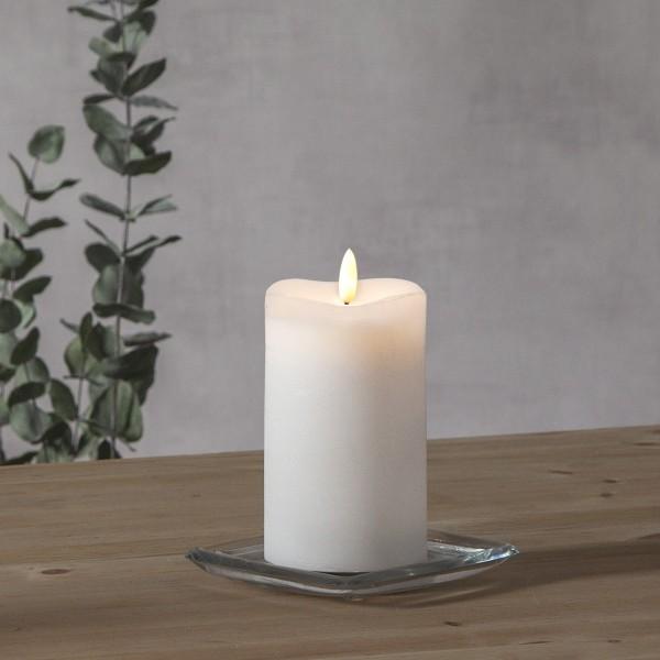 """LED Stumpenkerze """"Flamme"""" - Echtwachs - warmweiße Flamme - H: 14cm - Batteriebetrieb - Timer"""