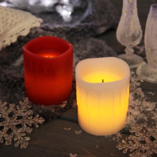 "LED Kerze ""Drip"" - Echtwachs - flackernde LED - Timer - H: 10cm - rot"