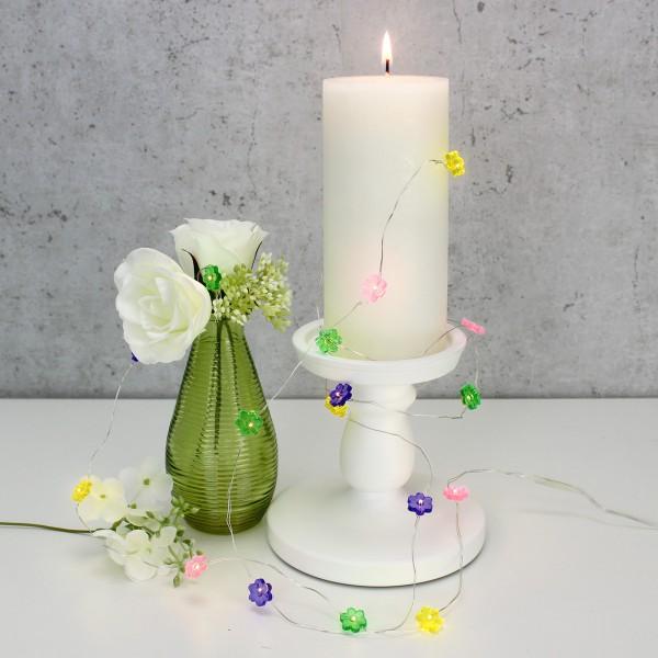 LED Drahtlichterkette Blume - 20 warmweiße LED - L: 1,9m - Batteriebetrieb - mehrfarbig