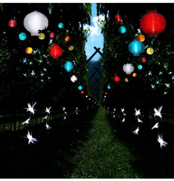 LED Lampion FESTIVAL - kaltweiße LED - D: 20cm - Montagehaken - 5er Set weiß