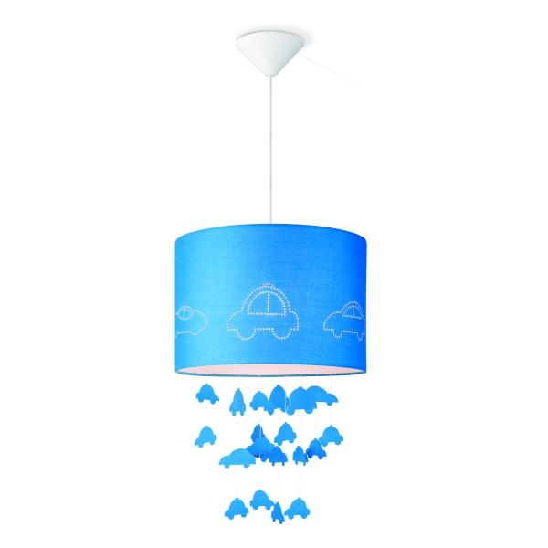 Lampenschirm CARS - blau - 30cm Durchmesser - mit fliegenden Autos