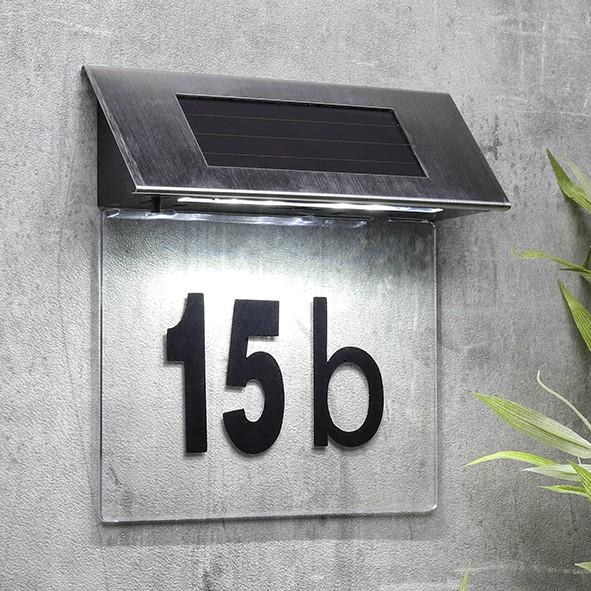 """Solar Hausnummer Edelstahl/Acryl """"CLEAR"""" - inkl Buchstaben und Zahlen - weiße LEDs - 19x18,5x5cm"""