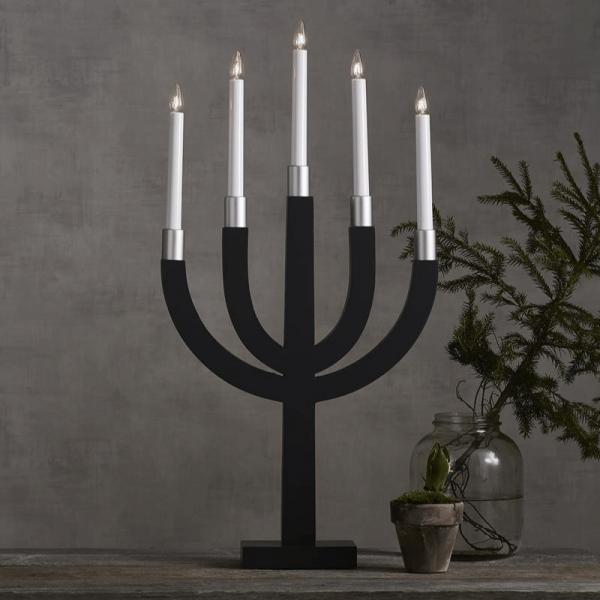 """Kerzenleuchter """"Elias"""" - 5 Arme - warmweiße Glühlampen - H: 67cm - Schalter - Anthrazit/Silber"""