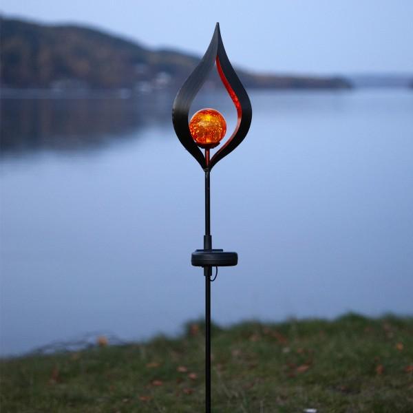 """LED Solarstab """"Flamme"""" - schwarz - amber LED - Glaskugel in Flamme - H: 70cm - Dämmerungssensor"""