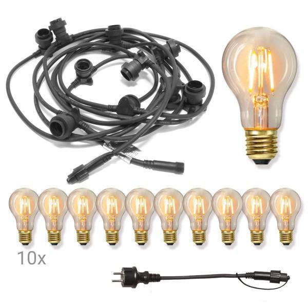Komplettset CONNECTA BLACK - Lichterkette 7,35m+5m Zuleitung - 10 x Edison Leuchtmittel - IP44