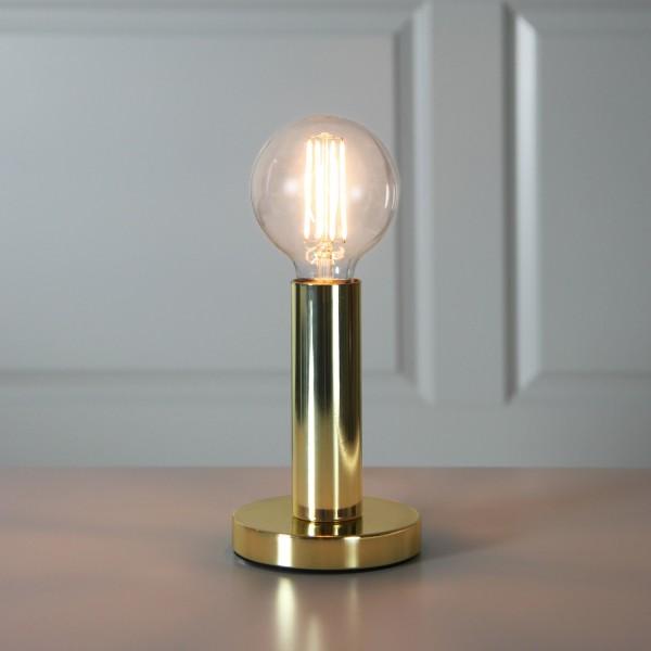 Lampenhalterung | GLANS | E27 | 12cm x 17cm | 180cm Kabel | Röhre lang | stehend | Messing