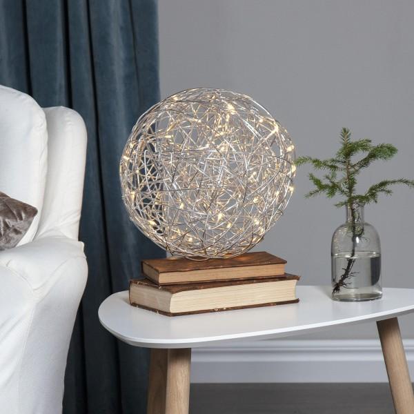 LED 3D Designkugel - D: 30cm - 50 warmweiße LED - Indoor & Outdoor - aus Silberdraht