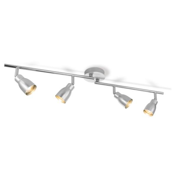 Deckenspot / Deckenbalken ALBA aluminium silber - 4fach - inkl. GU10 LED Leuchtmittel