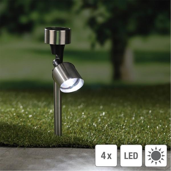 LED Solar Strahler - Edelstahl - je 1 kaltweiße LED - H: 35,5cm - 4er Set