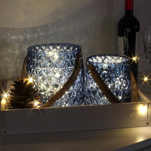 Set aus 2 Windlichtern - blaues Glas  mit 2 warmweißen LED Lichterketten - Timer - royalblau