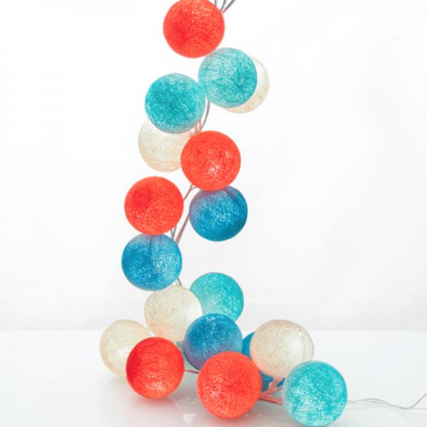 good moods* SUMMERTIME - Ball-Lichterkette mit 20 Stoffkugeln - 20 warmweiße LEDs - Geschenkkarton
