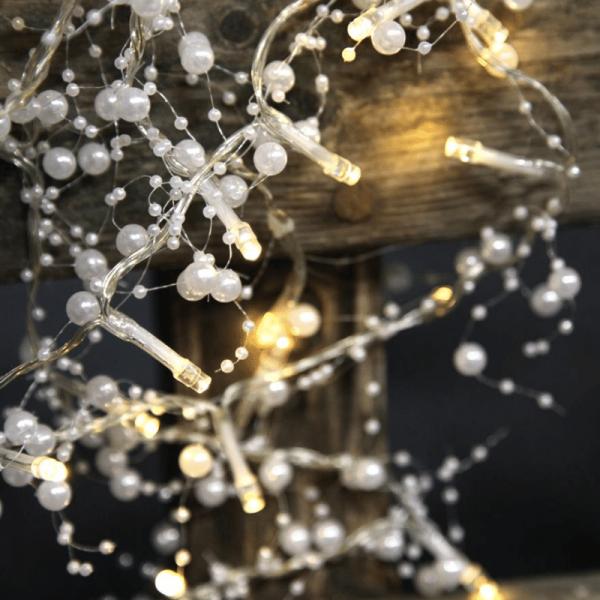 LED Lichterkette mit Perlen - 20 warmweiße LED - 1,15m - Batteriebetrieb - Timer - weiß