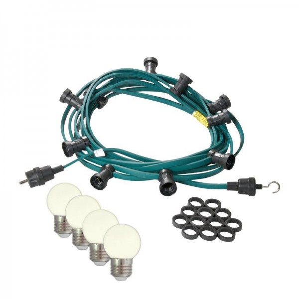 Illu-/Partylichterkette | E27-Fassungen | Made in Germany | mit weißen LED-Lampen | 30m | 50x E27-Fassungen