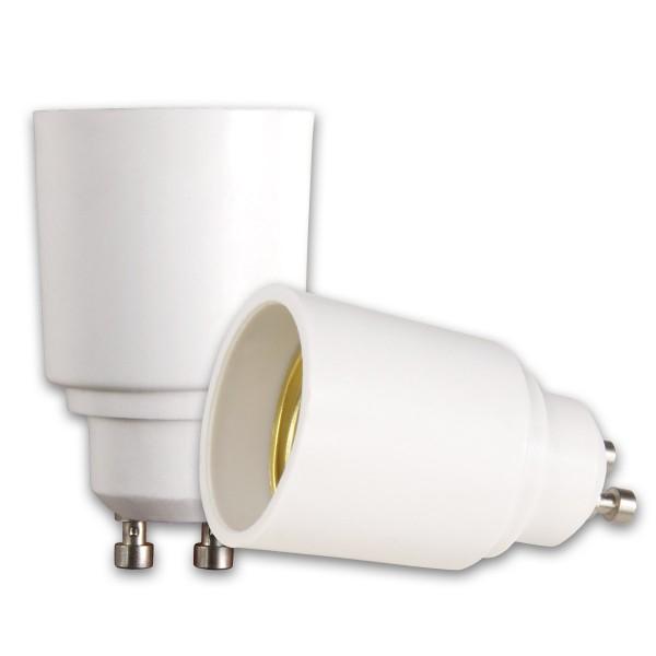 Lampensockel Adapter für Leuchtmittel - Porzellan - max 100W - GU10 auf E27