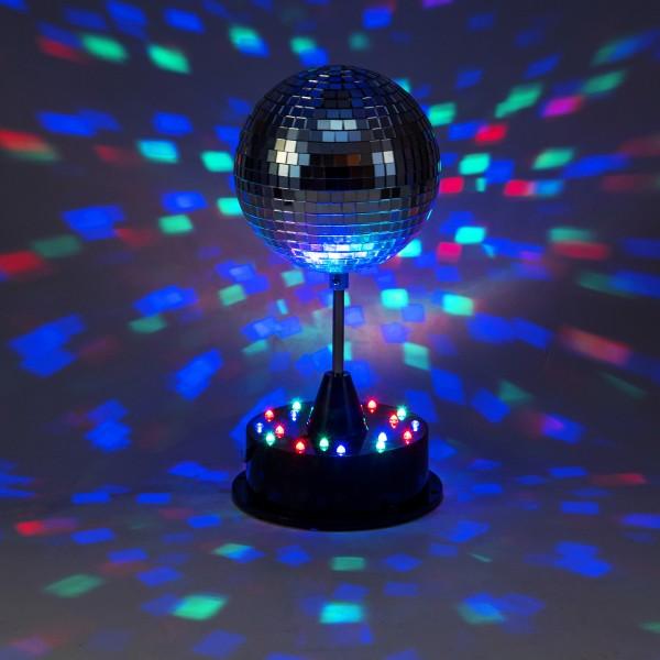 LED Spiegelkugel 13cm mit Standfuß - 18 bunte LED - Batterie und USB Betrieb - silber