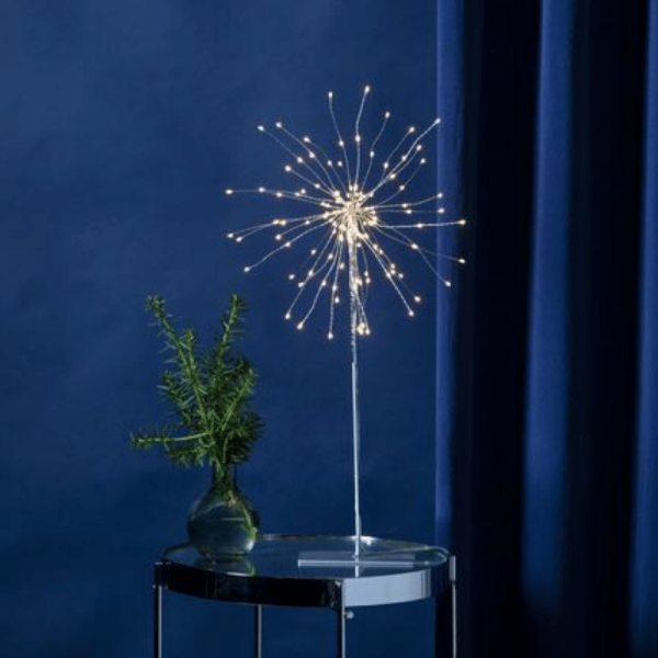 "3D-LED-Standstern ""Firework"" - 120 warmweiße LED - silber - Material: Metall - H: 50 cm, D: 26 cm"