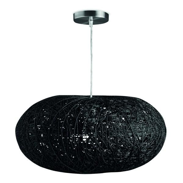 Pendelleuchte COCON schwarz 44cm - Naturfaser geflochten - E27 Fassung - 100cm Kabel