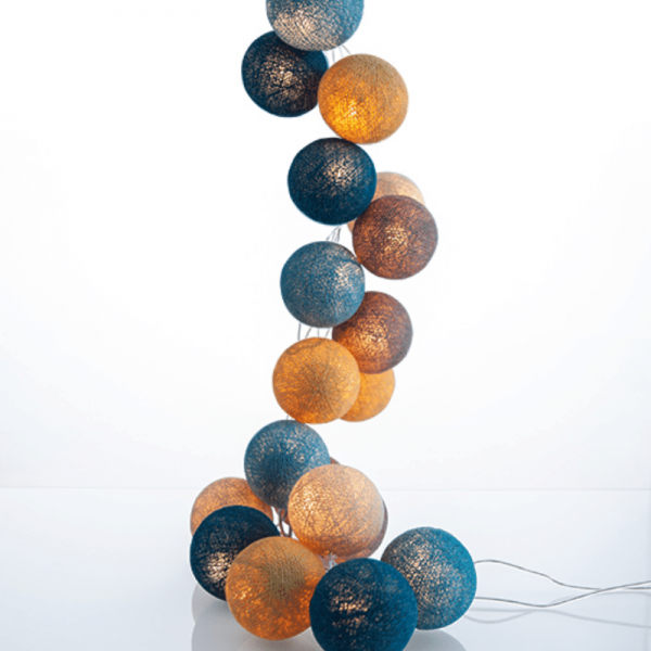 good moods* STRANDGUT - Ball-Lichterkette mit 20 Stoffkugeln - 20 warmweiße LEDs - Geschenkkarton