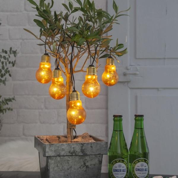 """LED Party Lichterkette """"Glow"""" - 5 Birnen á 2 warmweiße LED - L: 1m - Timer - outdoor - gelb"""