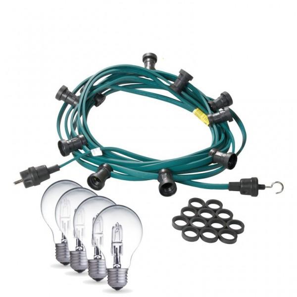 Illu-/Partylichterkette | E27-Fassungen | Made in Germany | mit weißen Glühlampen | 10m | 30x E27-Fassungen
