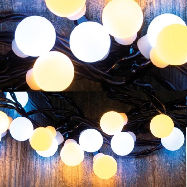LED Lichterkette Mini Kugeln - 10 warmweiße & 10 kaltweiße opale Kugeln - L: 1,9m - Timer