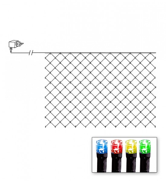 LED Lichternetz - Serie LED - outdoor - 180 bunte LED - 3.00m x 3.00m - schwarzes Kabel