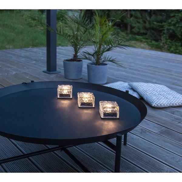 "LED Solarkerze ""Icecube"" - Eiswürfelform - warmweiße LED - transparent - 3er Set"