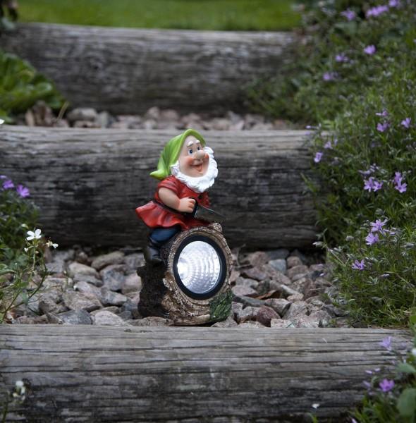"""LED Solar Gartenzwerg """"Gnomy"""" - Spot mit weißer LED - H: 21cm - Dämmerungssensor"""