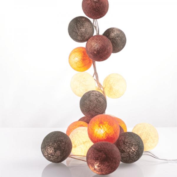 good moods* POWER PASTELS - Ball-Lichterkette mit 35 Stoffkugeln - 35 warmweiße LEDs -Geschenkkarton