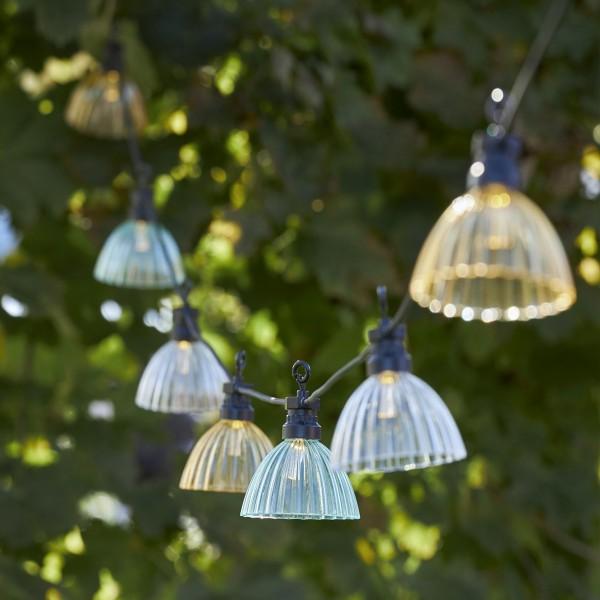 B-Ware LED Lichterkette LAMPENSCHIRM - 12 warmweiße LED - L: 4,95m - Outdoor - mehrfarbig transparent