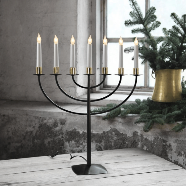 B-Ware LED Kerzenleuchter MARCIA - 7 Arme - warmweiße LEDs - H: 57cm - Schalter - schwarz