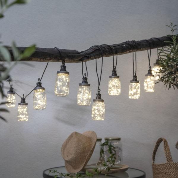 """LED Lichterkette """"CIRCUS BOTTLE"""" - 10 transparente Flaschen mit Drahtlichterkette - outdoor - 4,5m"""