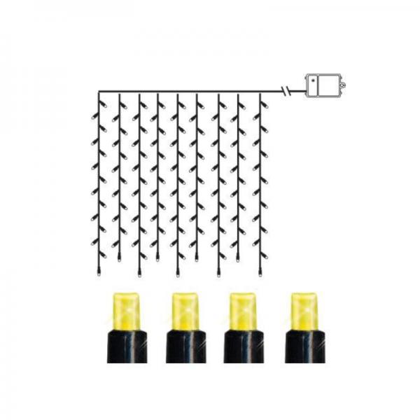 LED-Lichtervorhang - Dura Line Outdoor - Batteriebetrieb - Timer - 1,10 x 1,00m - 120x Warmweiß - Schwarz