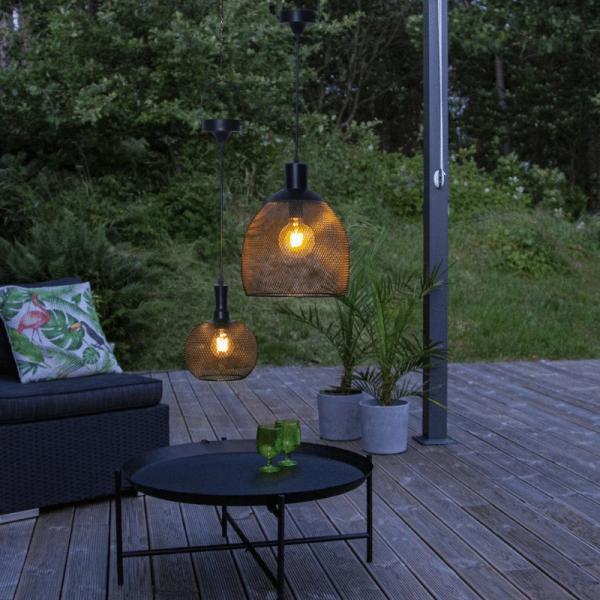 "LED Solar Lampe ""Sunlight"" - warmweiße LED - H: 35cm, D: 29cm - hängend - schwarz"